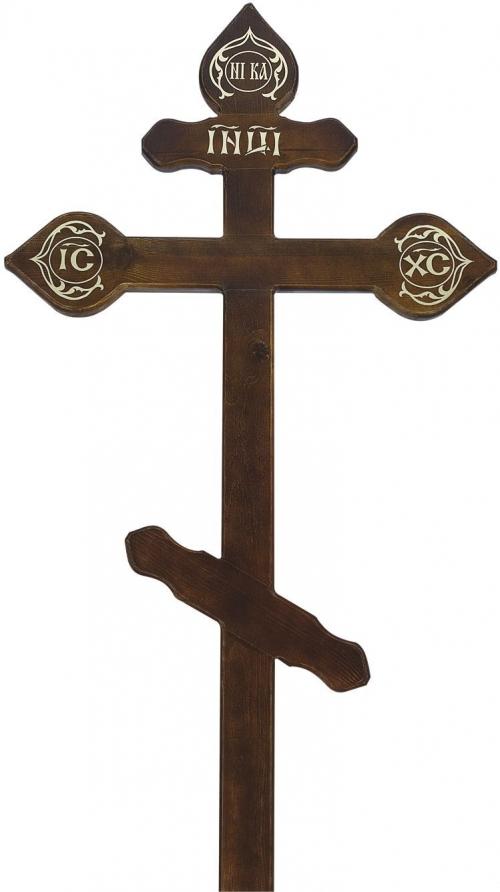 Крест на могилу сосновый «Резной»