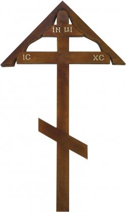 Деревянный крест для могилы сосновый «Домик»